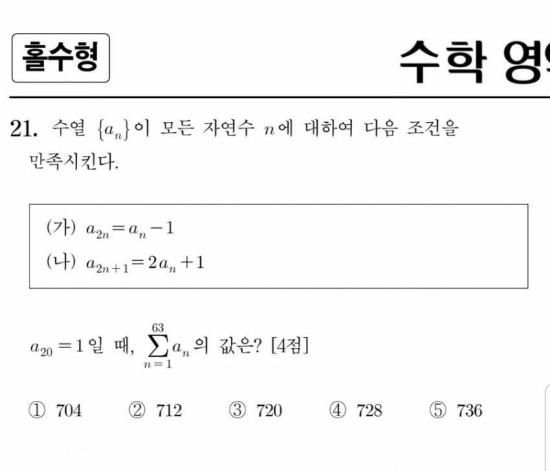 방금 수능 수학 나형 21번 4점짜리 문제.jpg | 인스티즈