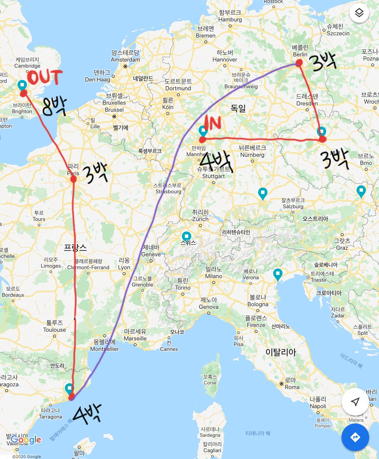 유럽여행 기간/루트 봐줘✈✈🇩🇪🇨🇿🇩🇪🇪🇦🇫🇷🇬🇧 | 인스티즈