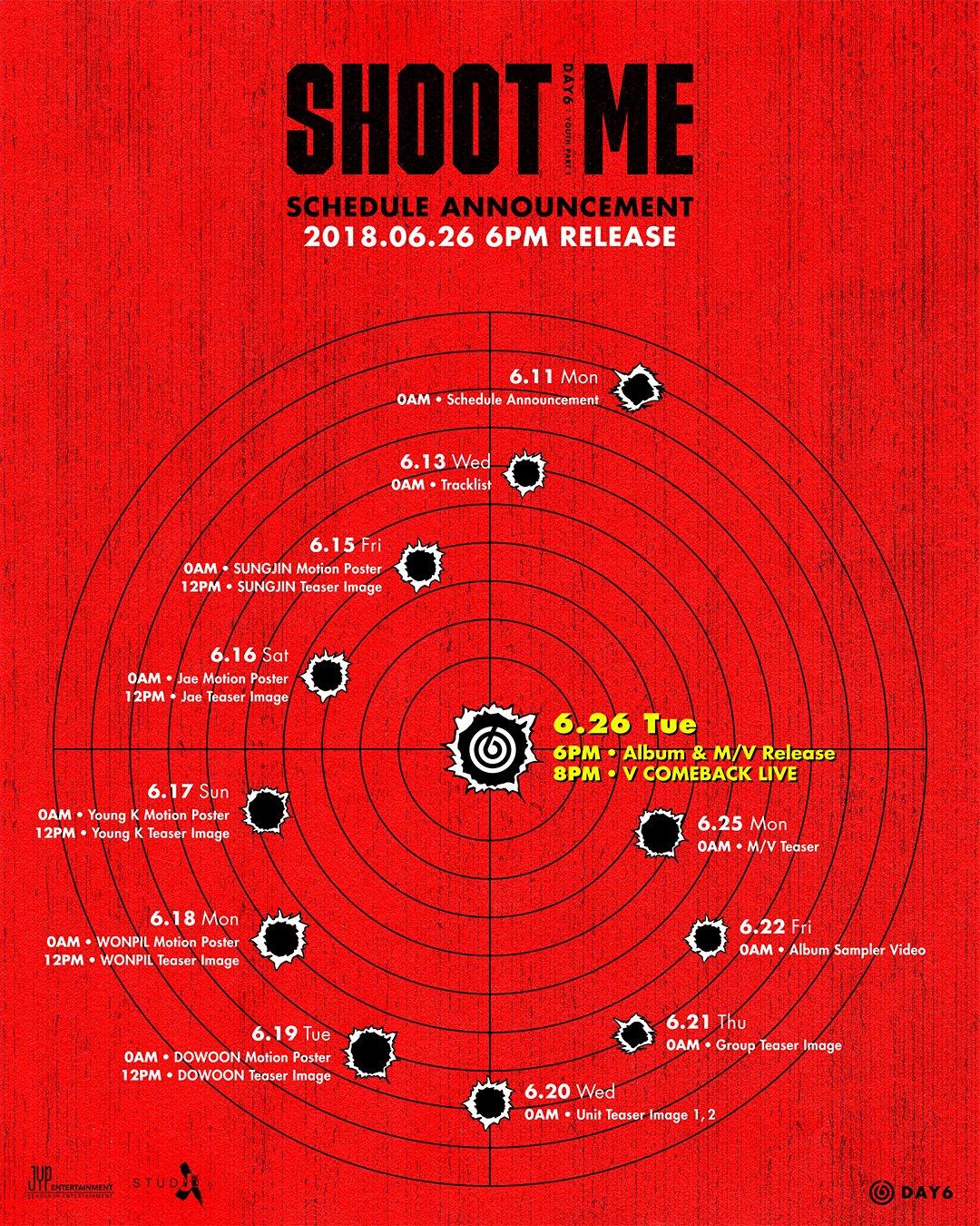 26일(화), 데이식스 미니 앨 'Shoot Me : Youth Part 1' 발매 예정 | 인스티즈