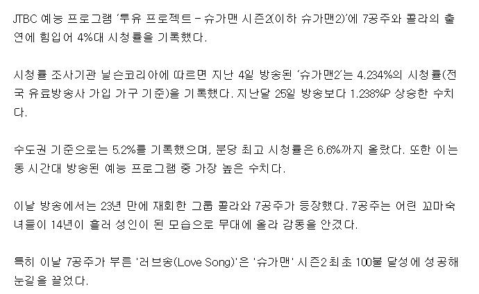 슈가맨2, 7공주 콜라 출연 힘입어 시청률 4%대 진입 | 인스티즈