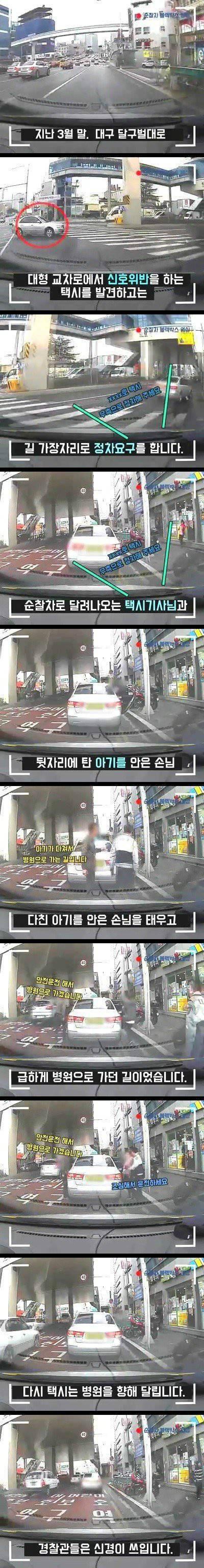 신호위반한 택시를 단속한 경찰 jpg | 인스티즈