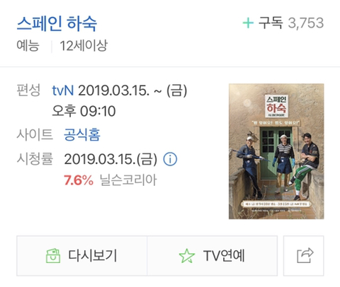 tvN 새예능 스페인하숙 첫방송 시청률 | 인스티즈