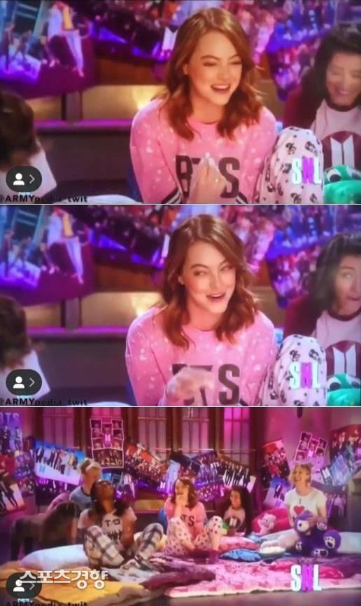 엠마 스톤, 방탄소년단(BTS) 티셔츠 입은 이유는? | 인스티즈