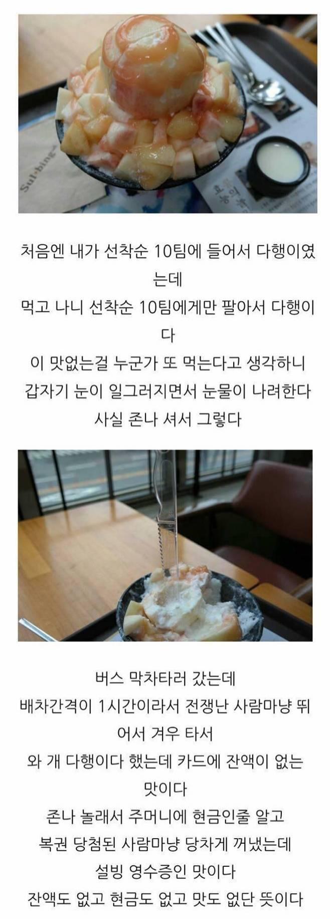 어느 블로거의 복숭아 설빙 후기.jpg | 인스티즈
