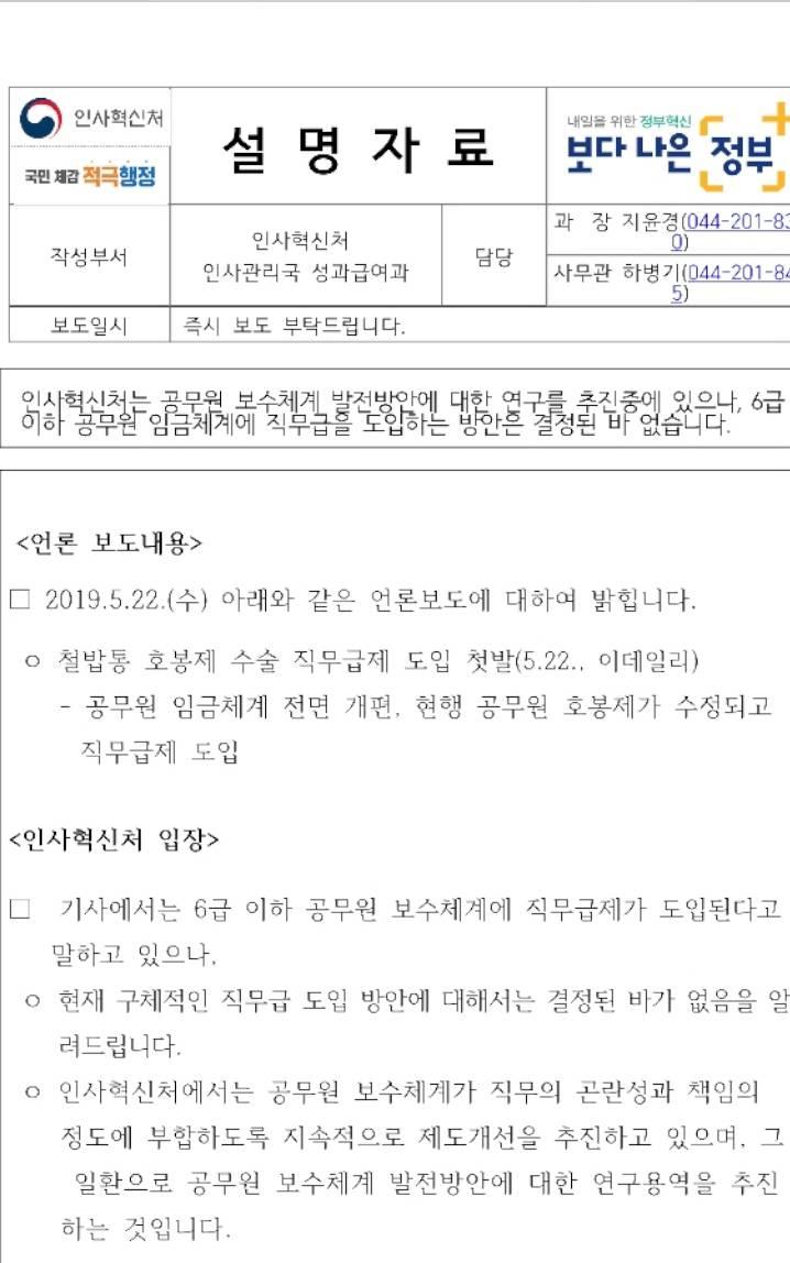 '공무원 직무급제 도입' | 인스티즈