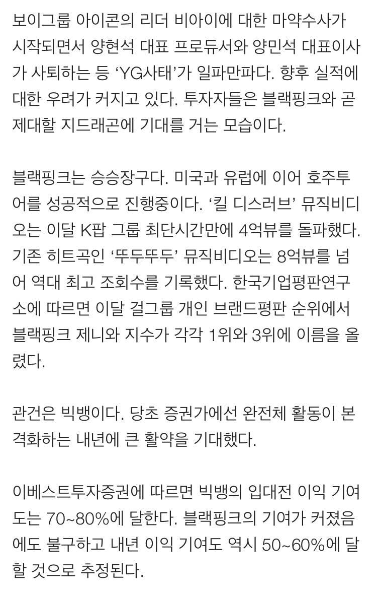 수장 공백 YG '빅뱅 지드래곤'이 이끈다 | 인스티즈