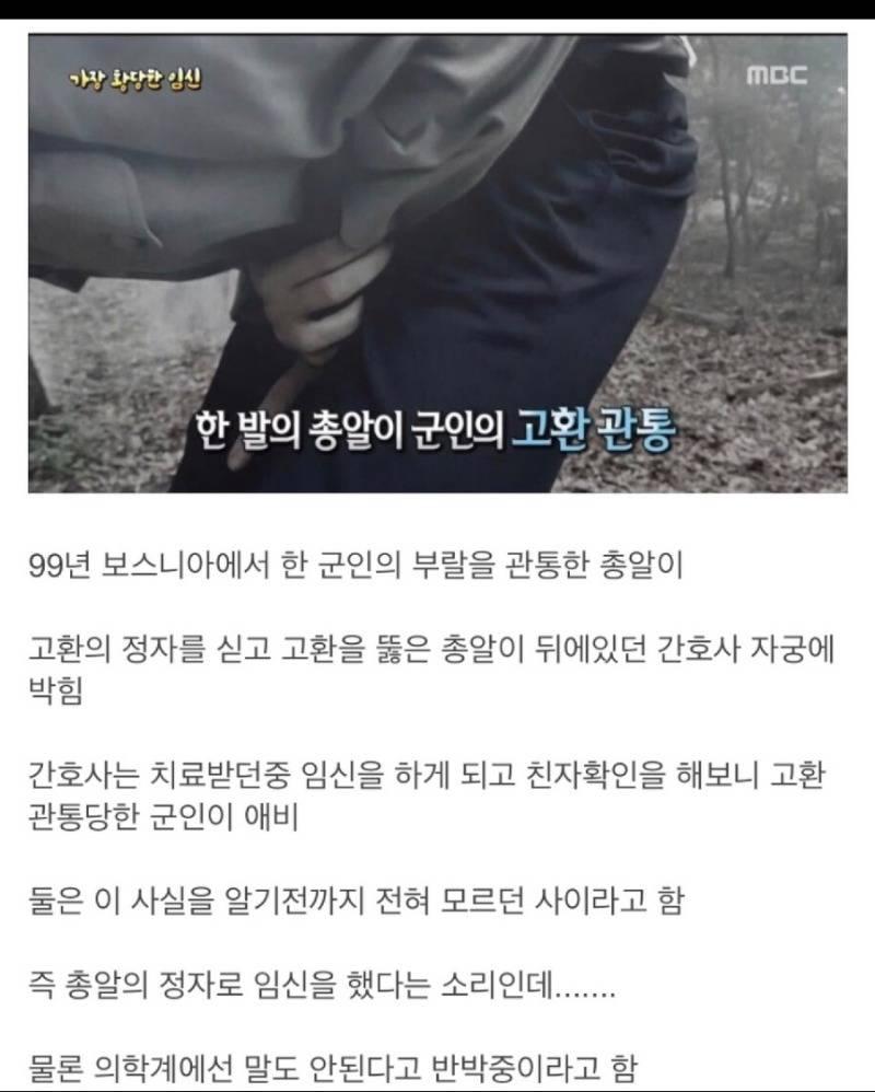 남자의 고환을 관통한 총알이 여자의 자궁에 박혀 임신 | 인스티즈