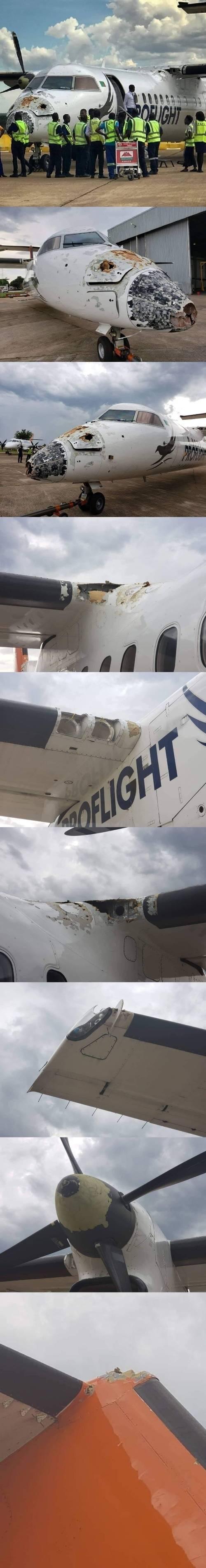 비행중 우박에 맞은 잠비아 여객기 | 인스티즈
