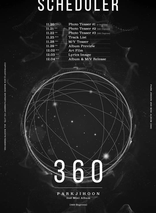 4일(수), 박지훈 미니 앨범 2집 '360' 발매   인스티즈