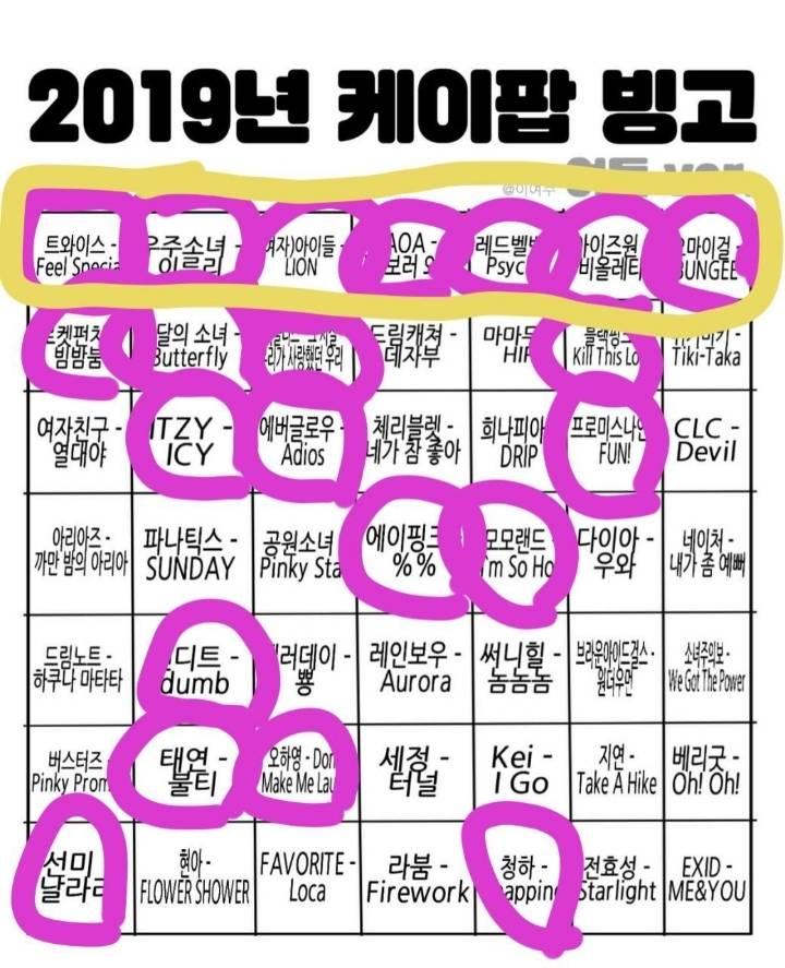 2019 Kpop 아이돌 빙고판.jpg (남돌ver&여돌ver) | 인스티즈