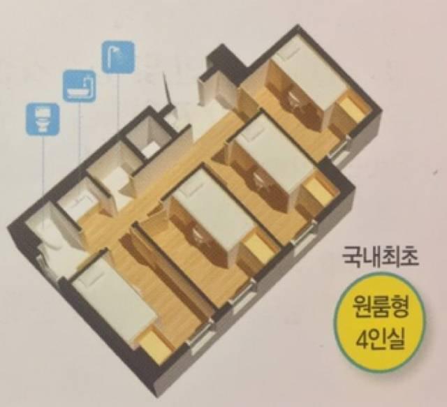 원룸형 4인실 형태의 대학교 기숙사.jpg | 인스티즈