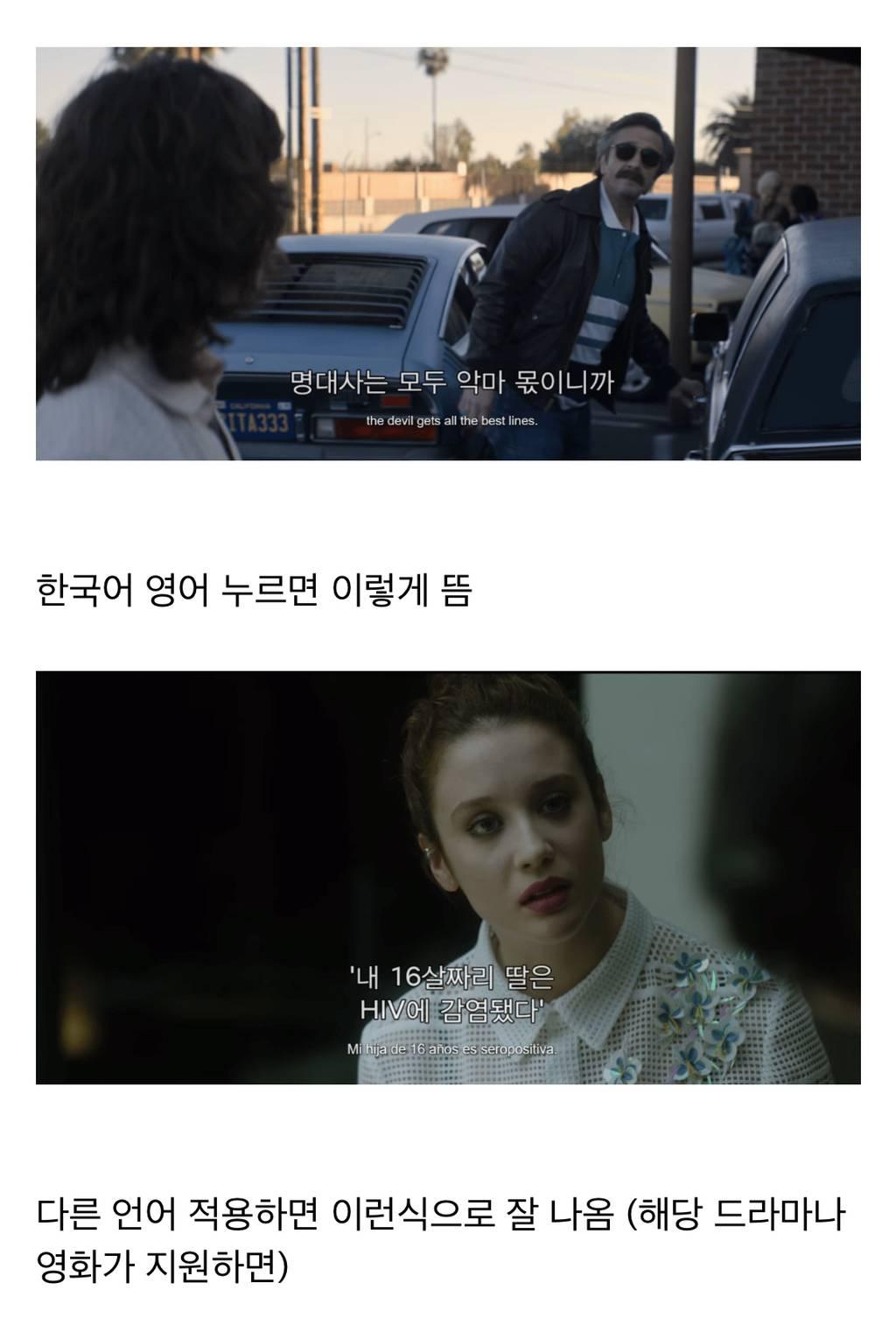 넷플릭스 자막 두 개 동시에 보는 법.jpg (한국어-외국어) | 인스티즈