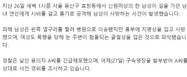 서울 효창동서 길 가던 연인 피습…30대 남성 사망 | 인스티즈