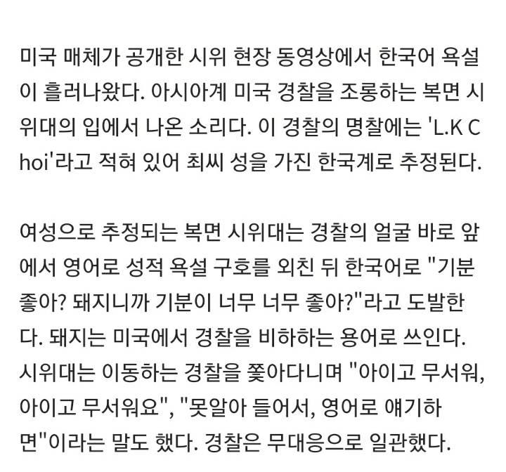 """""""돼지니까 좋아?"""" 한국말로 아시아계 美경찰 조롱한 시위대   인스티즈"""