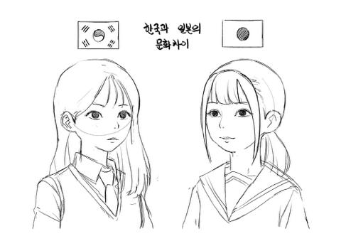 한국과 일본 학생들의 앞머리 유행 차이 | 인스티즈