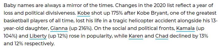 2020년 미국 신생아 이름 순위에서 '코비'(Kobe)급상승 | 인스티즈