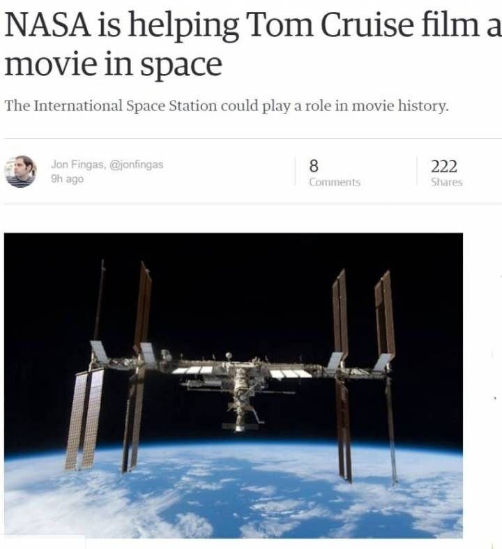톰 크루즈, 최초로 우주정거장에서 영화 촬영 | 인스티즈